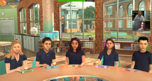 Working with virtual SEN students. Image shows C-Live classroom